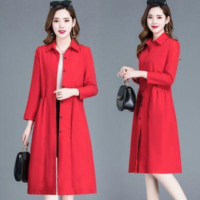 12689/2021妈妈装春装新款韩版修身风衣女中长款中年女气质薄款春秋外套