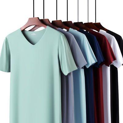 33497/夏季男士无痕冰丝短袖T恤修身休闲透气V领半袖上衣打底衫