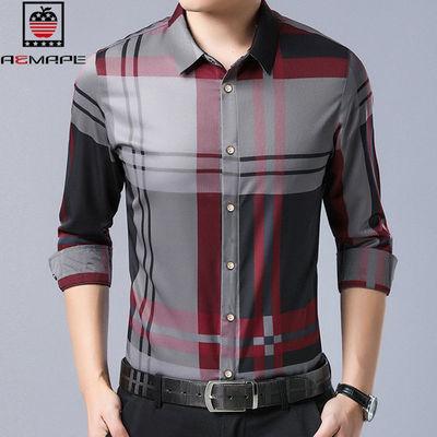 美国苹果春季新款青年翻领韩版潮流修身衬衫长袖商务休闲男士衬衣