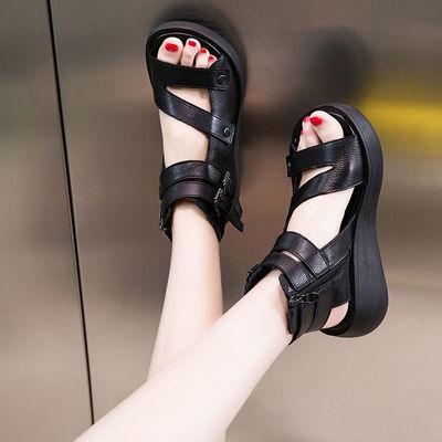 37768/鱼嘴凉鞋女夏季厚底罗马鞋软底休闲松糕鞋增高沙滩鞋女坡跟凉鞋子