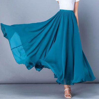 61418/夏季蓝色纱裙雪纺半身裙大码红色跳舞蹈裙新疆广场舞沙滩仙女长裙