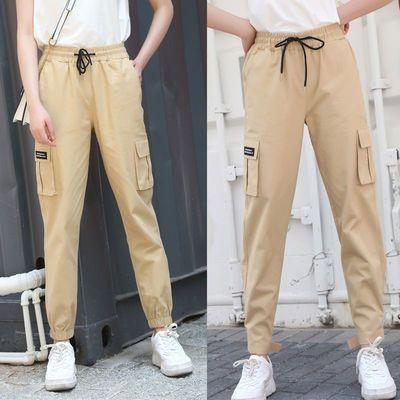法式工装裤女宽松bf直筒束脚显瘦高腰夏国潮帅气学生运动休闲裤子