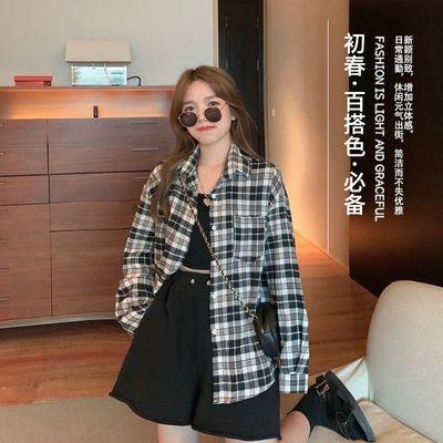 29760/清仓春季2021新款韩版宽松撞色格子衬衫女外穿复古港味中长款衬衣