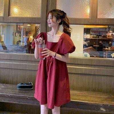 35185/2021夏季新款文艺复古小清新泡泡袖纯色连衣裙宽松显瘦中裙a字裙