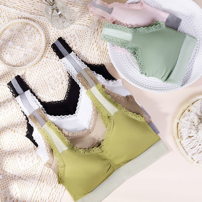 法式蕾丝内衣女无痕无钢圈全方位承托收副乳防下垂抑菌抗螨防过敏