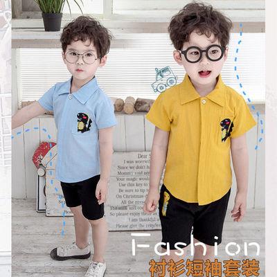 奶酪森林2021韩潮男中童儿童装开衫短袖套装衬衫短裤两件套夏装薄
