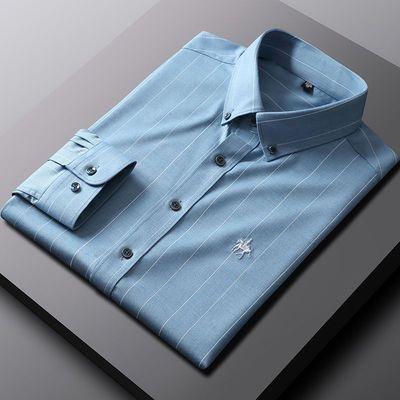 新款竹纤维衬衫男长袖春秋款商务休闲免烫弹力中青年宽松正装衬衣