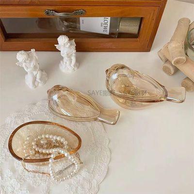 39053/韩国ins风琥珀色小鸟玻璃耳环戒指首饰收纳罐子摆件房间装饰盒子