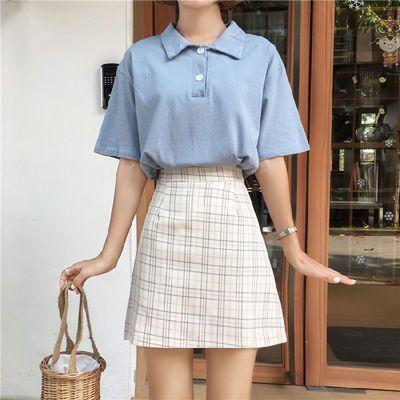 68636/格子半身裙女春夏新款港味学院高腰显瘦包臀裙小个子A字型短裙潮