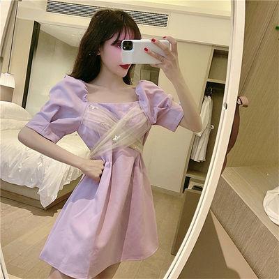 34608/法式拼接气质金粉亮片网纱2021夏季新款收腰显瘦泡泡袖仙女连衣裙