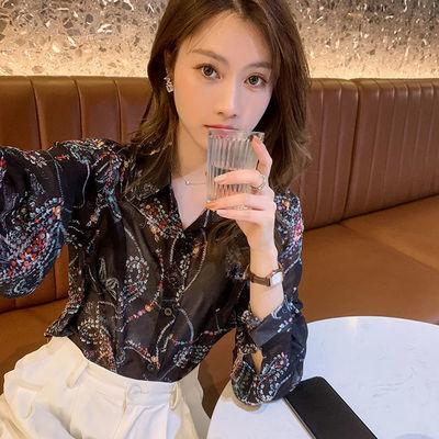 2021新款韩版时尚优雅衬衣仙春夏翻领复古雪纺碎花衬衫女潮流百搭