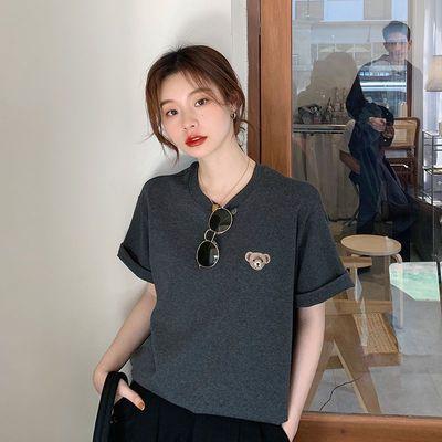 1298/短袖T恤女学生夏季港风印花小熊宽松内搭上衣新款休闲百搭打底衫