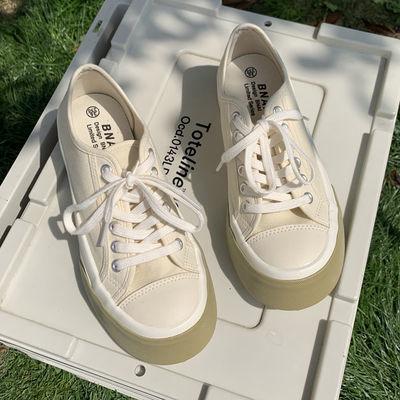 21177/大头踩屎感小众设计韩版学生帆布鞋女2021夏季拼接学院百搭板鞋女