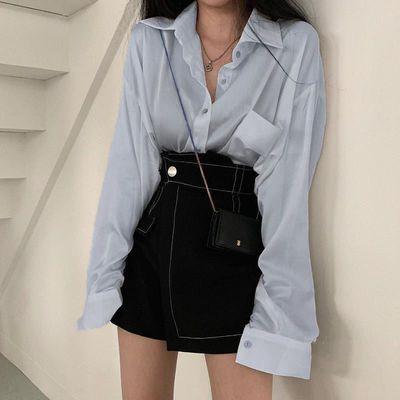 韩范两件套Chic春秋洋气翻领长袖衬衫+高腰明线半身裙裤裙套装女