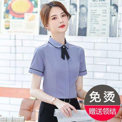 35806/短袖衬衫女职业正装时尚洋气娃娃领上衣夏季新款韩版白衬衣工作服