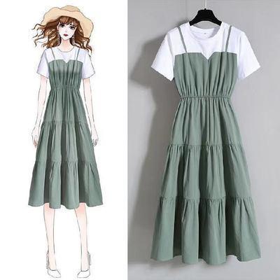62319/大码女装时尚吊带假两件长裙2021夏季胖妹妹收腰显瘦短袖连衣裙女