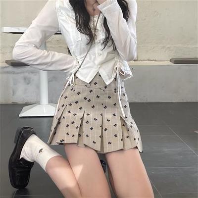 18691/JMSHOP心动信号蝴蝶结短裙百搭裙裤2021春夏新款高腰百褶半身裙