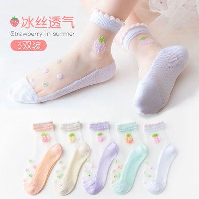 儿童冰丝袜子夏季女童薄款纯棉水晶袜小孩中大童丝袜春秋公主花边