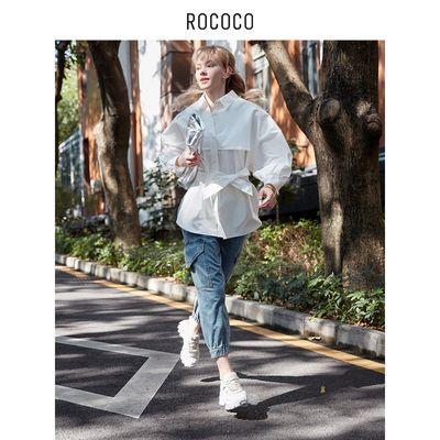 21592/洛可可/ROCOCO2021牛仔裤女春季薄款高腰时尚九分裤宽松哈伦裤