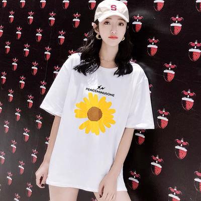 41026/小雏菊印花短袖纯棉宽松t恤女夏季网红爆款洋气半袖时尚休闲上衣