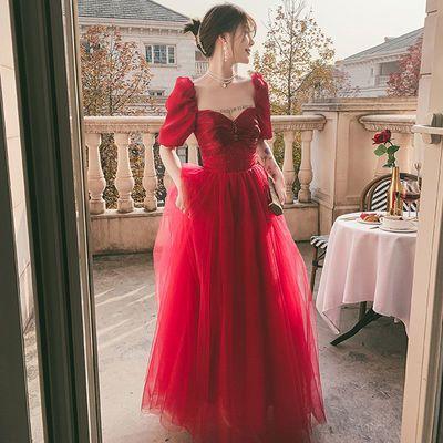 46163/红色结婚敬酒服2021新款春夏季高贵气质长款结婚订婚回门晚礼服女