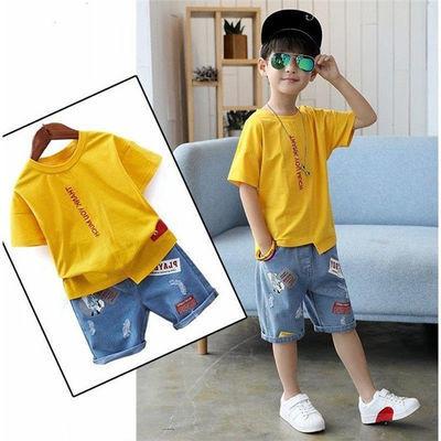男童夏套装2021新款儿童装夏季帅气男宝宝短袖t恤牛仔短裤两件套