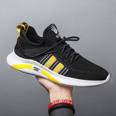 韩版新款2021潮流飞织运动男鞋子透气网面鞋男士休闲鞋小白鞋