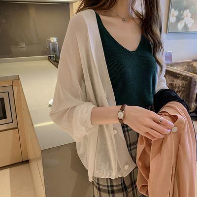 防晒衣女2021新款长袖百搭薄款冰丝针织开衫外套女夏季外搭空调衫