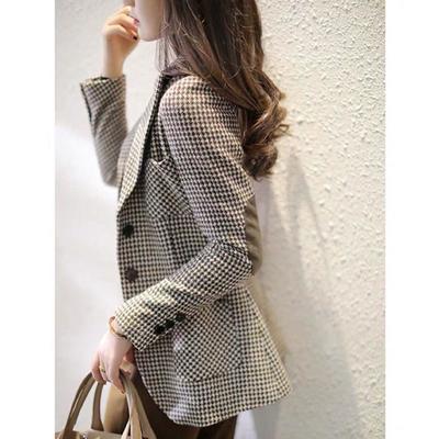 75639/格子小西装外套女士2021春季新款修身显瘦千鸟格百搭气质西服上衣