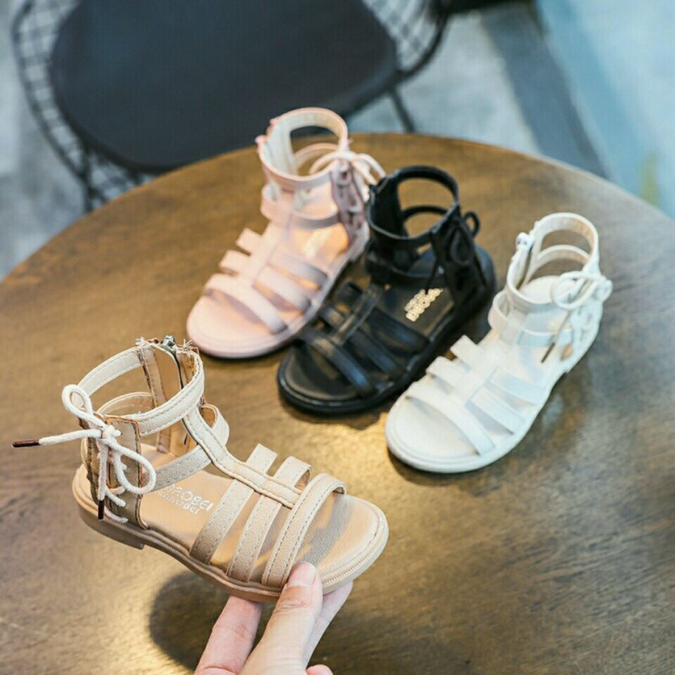 新款女童时尚百搭侧拉链罗马凉鞋