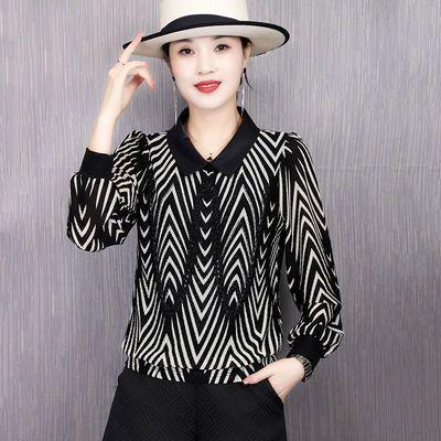 17752/蕾丝长袖衬衫2021新款春装雪纺衫女士洋气上衣短款韩版显瘦打底衫