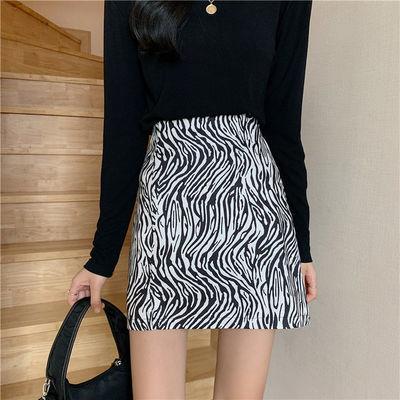 17611/斑马纹短裙女半身裙高腰a字2021新款时尚显瘦黑色裙子A步裙安全裤