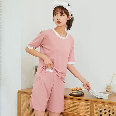 40536/2021夏季清凉冰丝套装睡衣女纯色休闲宽松学生两件套可外穿家居服