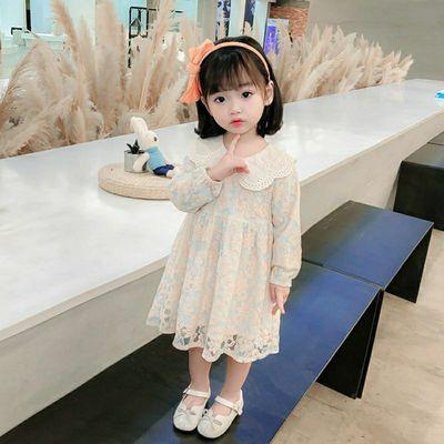 女童春秋蕾丝连衣裙小童公主裙洋气2021新款2-7岁娃娃领长袖裙子
