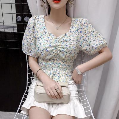9241/雪纺衫女短袖2021夏季锁骨泡泡袖短款心机设计感小众上衣潮