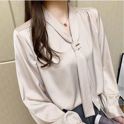 22100/气质韩版小众设计感丝滑垂感领结飘带长袖泡泡袖宽松百搭衬衣女