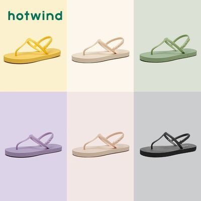 34936/热风拖鞋女2021夏季新款潮罗马休闲鞋夹脚绊带中空凉鞋H61W1602