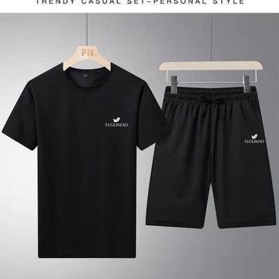 2021新款夏季T恤运动套装男夏季新款休闲套装吸汗速干短袖套装