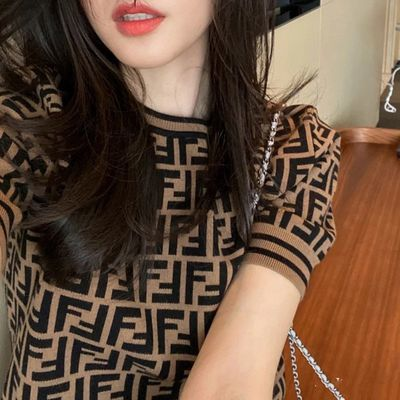 9712/精纺100%纯羊毛短袖女春款套头半袖针织衫薄五分袖打底毛衣羊绒衫