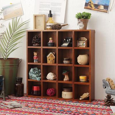 72871/多格置物架壁挂式收纳盒格子装饰柜挂架桌面复古实木桌面收纳柜