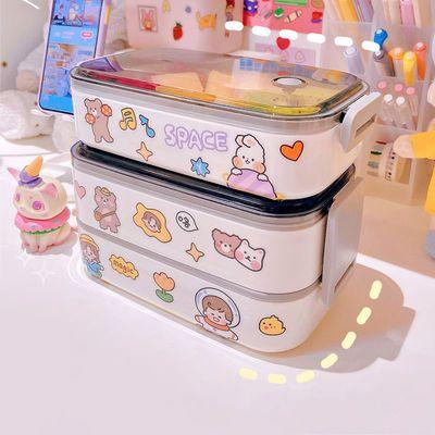双层饭盒便当盒上班族可爱少女心日式轻便携专用可微波炉加热餐盒