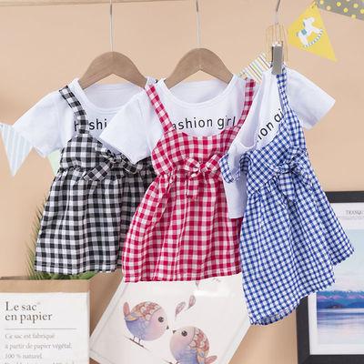 夏季女宝连衣裙中小童时尚格子公主裙新款韩版潮流吊带裙子1-4岁