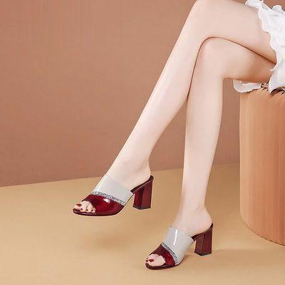 凉拖鞋女外穿2021夏季新款鱼嘴一字拖鞋酒红粗跟高跟女士软皮拖鞋