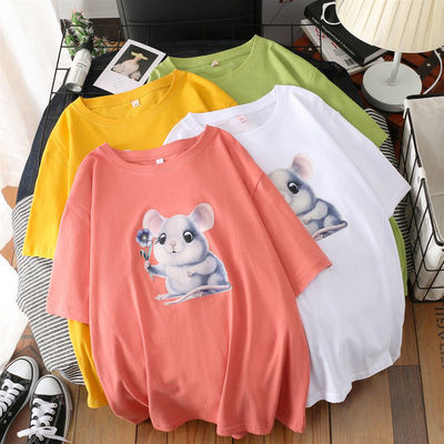 41191/新款纯棉圆领短袖T恤百搭时尚夏季潮流多色韩版宽松大码印花上衣