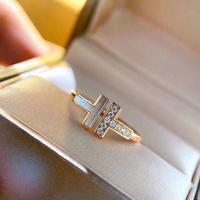 14665/T家纯银戒指女ins不掉色可调节开口白贝母镶钻情侣对戒生日礼物女