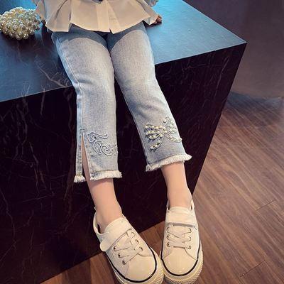 女童春秋裤子儿童牛仔裤2021新款中大小童洋气时尚开叉时髦韩版裤