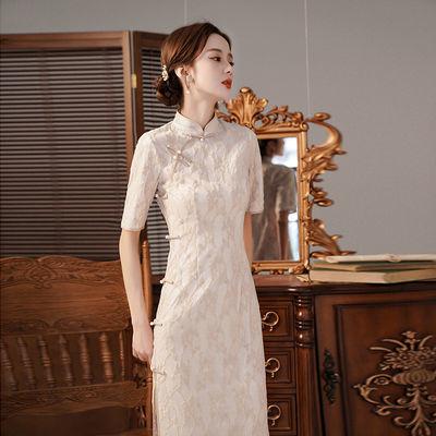 19938/日常可穿夏季旗袍民国少女气质年轻款复古中长款改良版蕾丝连衣裙