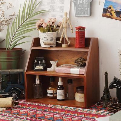 77408/木制桌面收纳盒宿舍杂物多层化妆品置物架zakka复古壁挂整理柜子
