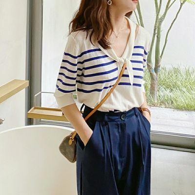 18032/2021春夏季新款百搭显瘦冰丝薄款蓝白条纹领结针织衫七分袖上衣女