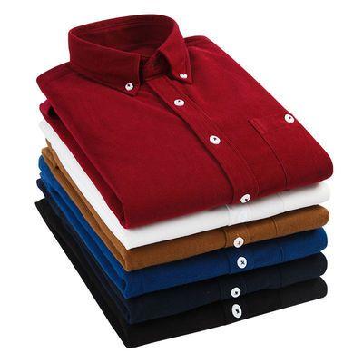 12062/2021新夏款男士纯色衬衫休闲商务衬衣领尖扣免烫打底长短袖潮寸衫